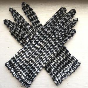 Vintage Houndstooth Gloves- silver/black/stretchy